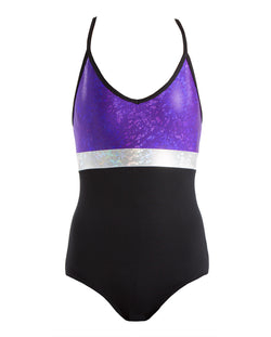 Energetiks 'Shattered Glass' Spliced Triple Strap Leotard, Childs, PARTY PURPLE, GCL104