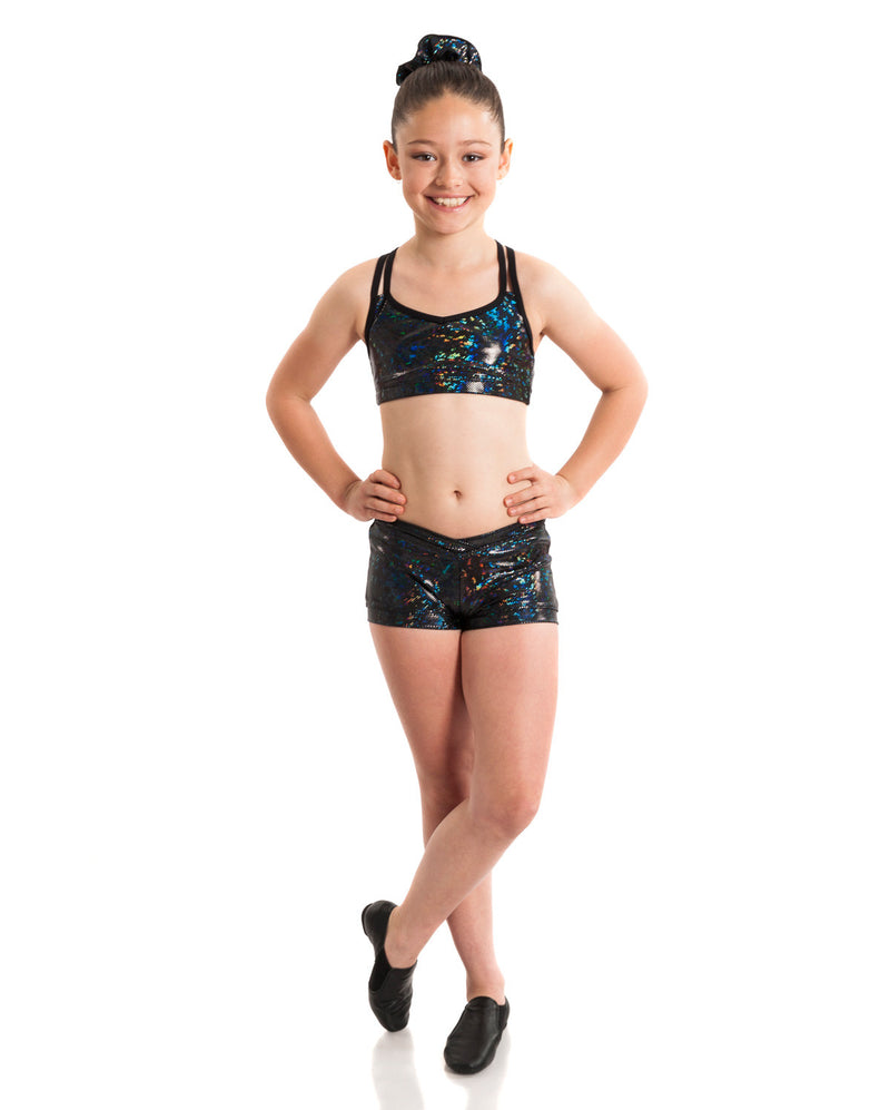 Energetiks 'Shattered Glass' Cross Back Crop Top, Girls, BLACK, GCC33