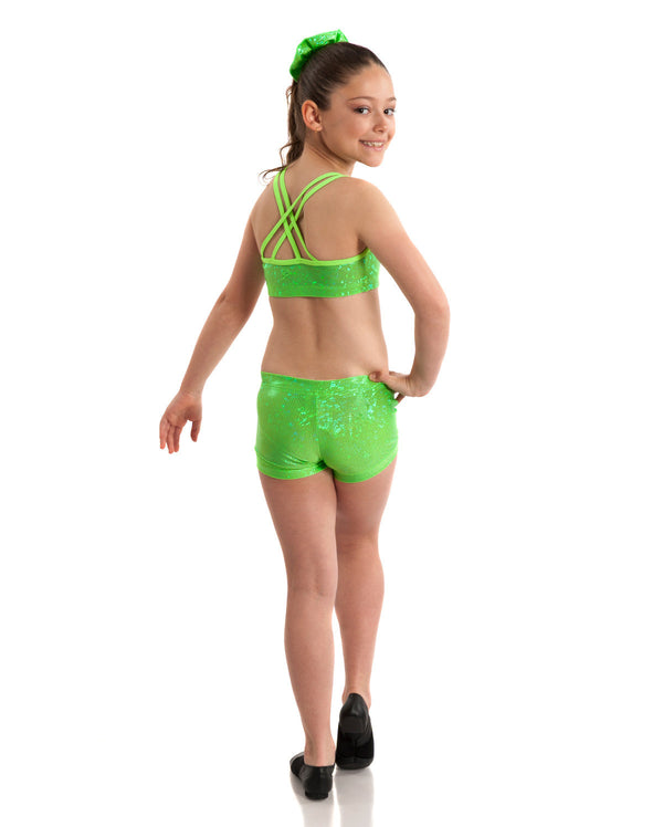 Energetiks 'Shattered Glass' Cross Back Crop Top, Girls, FLUORO LIME, GCC33