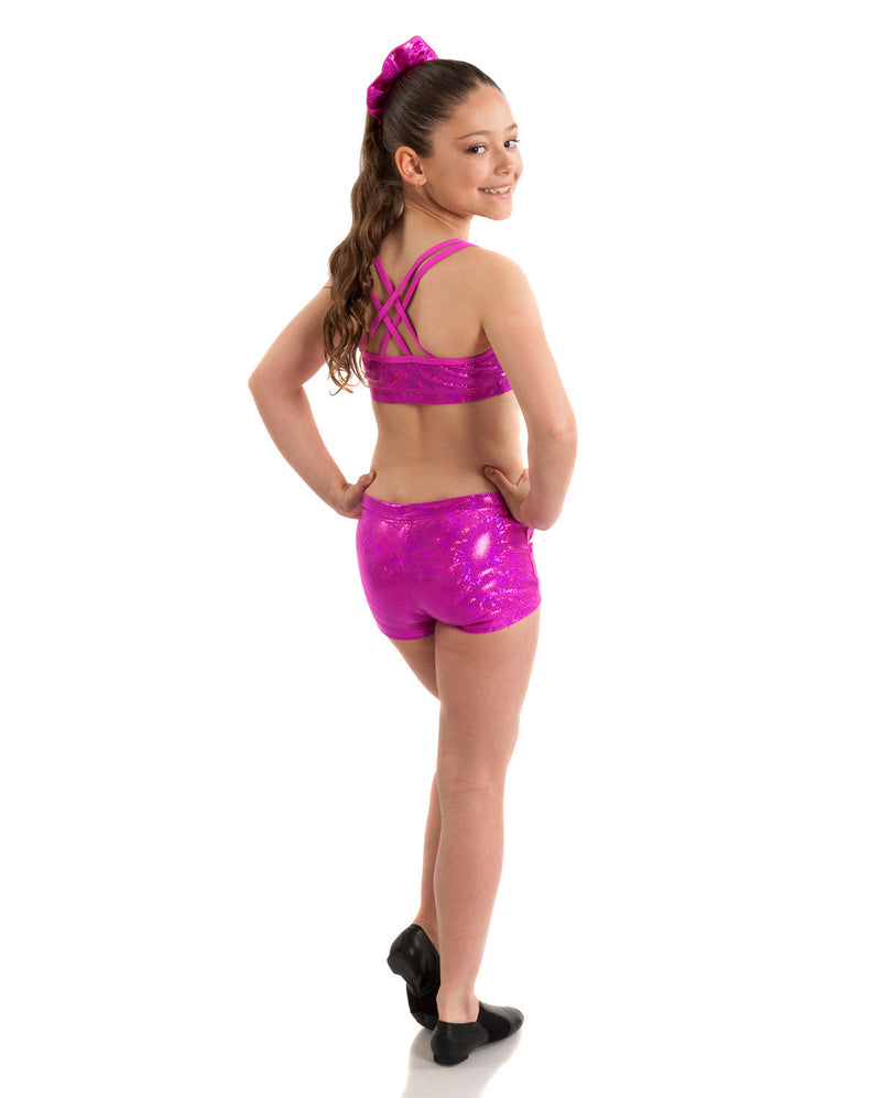 Energetiks 'Shattered Glass' Cross Back Crop Top, Girls, HOT PINK, GCC33