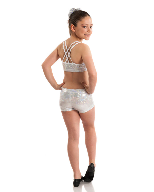 Energetiks 'Shattered Glass' Cross Back Crop Top, Girls, SILVER, GCC33