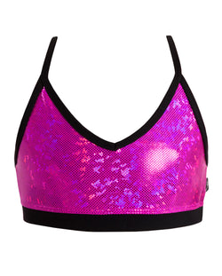Energetiks 'Shattered Glass' Detailed Crop Top, Girls, HOT PINK, GCC94