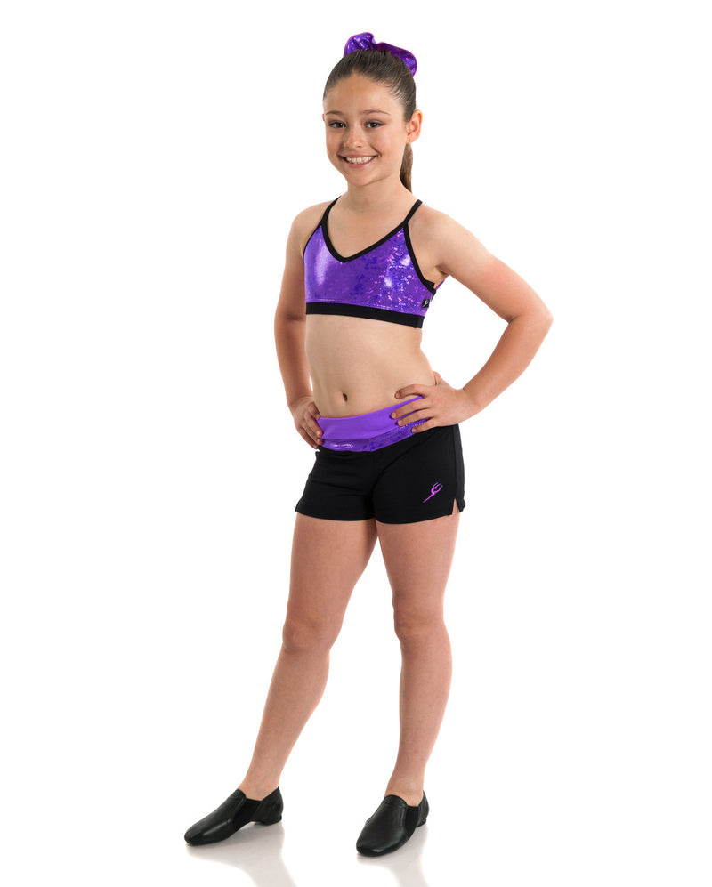 Energetiks 'Shattered Glass' Detailed Crop Top, Girls, PARTY PURPLE, GCC94
