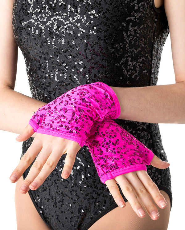CLEARANCE, Studio 7, Sequin Fingerless Gloves (9 Colours) ACC05