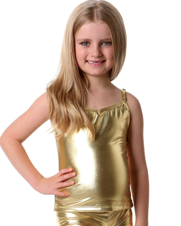 Studio 7 Metallics, Singlet Top, Gold, Childs, CHST02