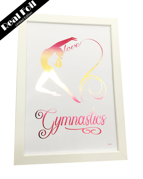 Framed Real Foil Print, 'Love Gymnastics', Pink/Gold Ombre, A4 or A5