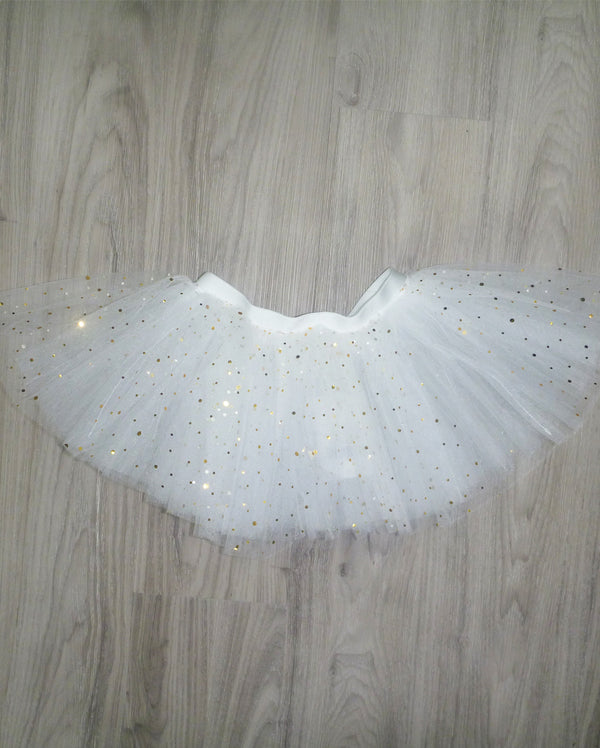 CLEARANCE, Studio 7 Illusion, Tutu Skirt, White / Metallic Gold Sparkles, CHTS02