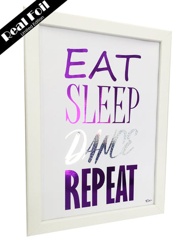 Framed Real Foil Print, 'EAT-SLEEP-DANCE-REPEAT'  (Limited Edition Purple/Silver Stars) A4 Size (21 x 29.7cm)