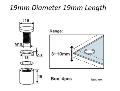 Panel Mounts 19mm Diameter 19mm Length (Pack of 4)