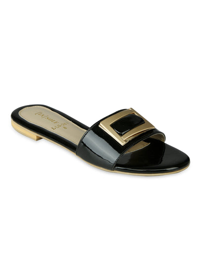 Women Fancy Slippers-LLS-087 - Black