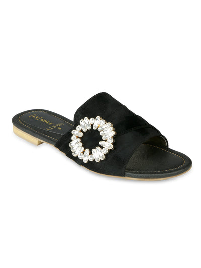 Women Fancy Slippers-LLS-089 - Black