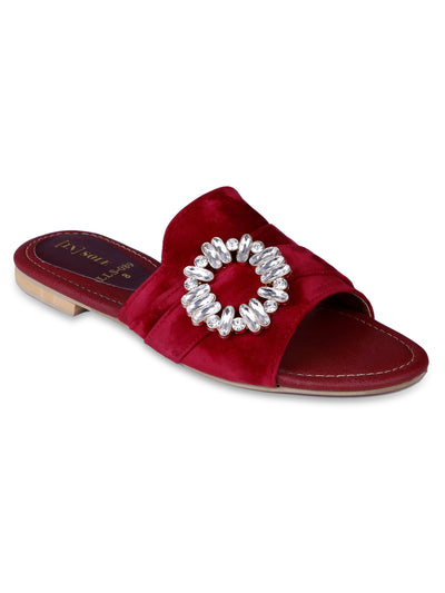 Women Fancy Slippers-LLS-089 - Maroon