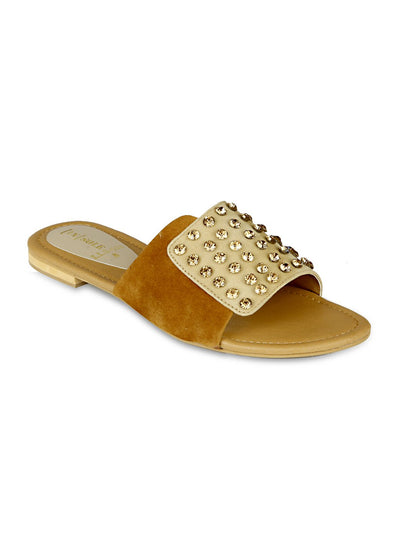 Women Studs Slipers LLS-088 - Fawn
