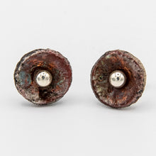Load image into Gallery viewer, Raku button earrings