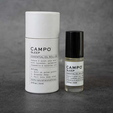 Load image into Gallery viewer, On the left: cylindrical packaging for the CAMPO Sleep roll-on. The packaging is white and matches the label on the bottle.