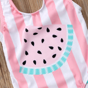 Watermelon Striped Ruffle Swimsuit