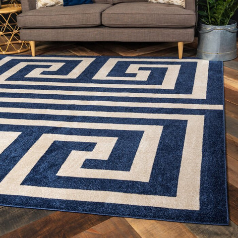 Ellery Geometric Cream - Navy Blue Area Rug