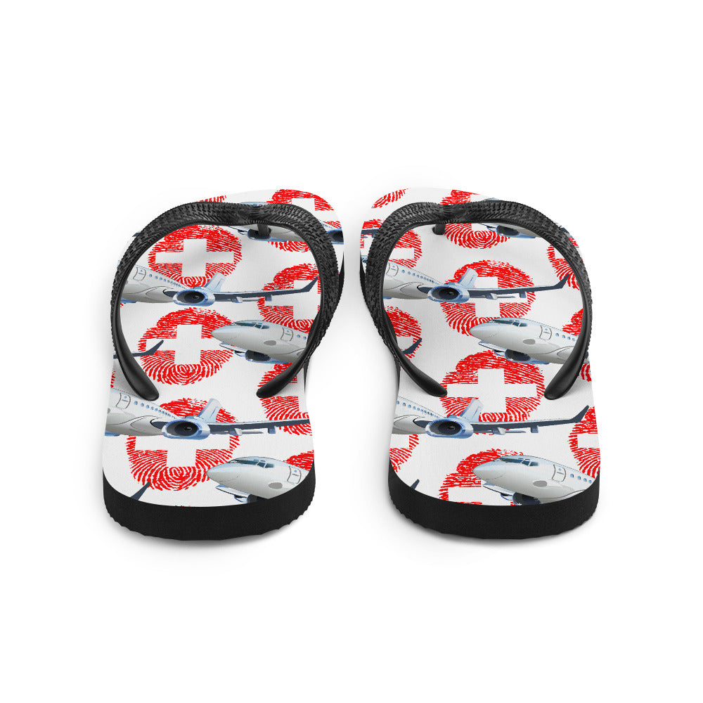 Switzerland - Cool Commercial Aircraft Flip Flops