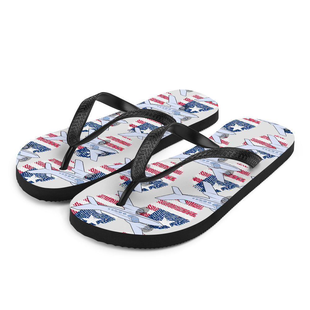 USA - Cool Twin Engine Aircraft Flip Flops