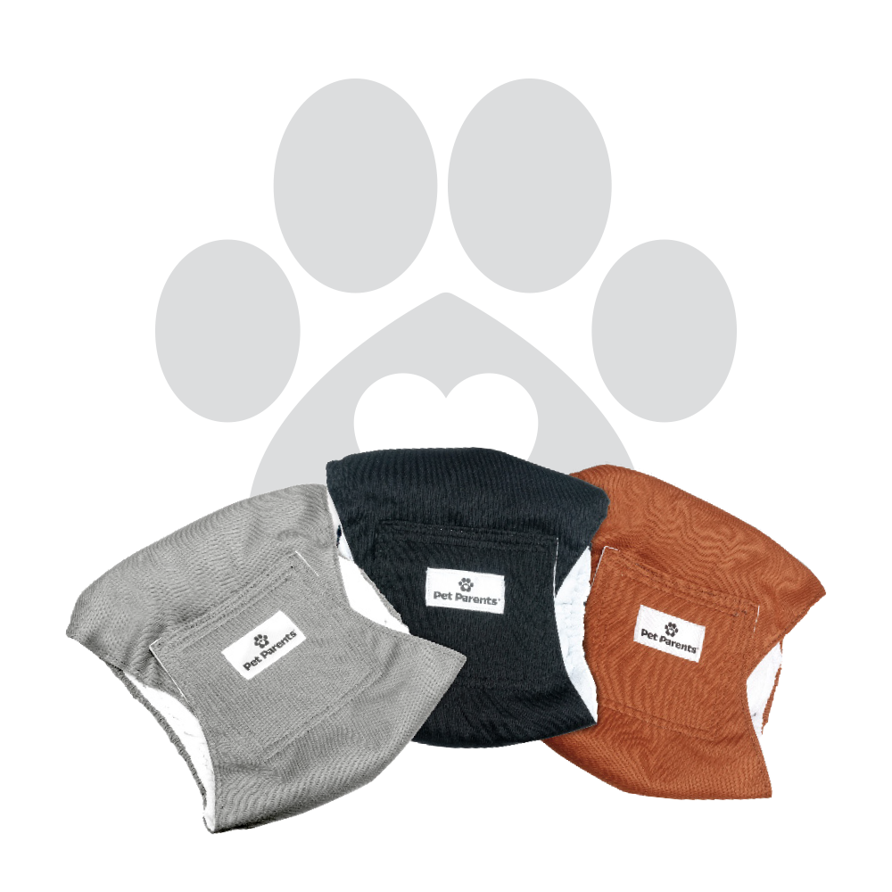 Washable Dog Belly Bands (3pack) of Premium Male Dog Wraps - NATURAL
