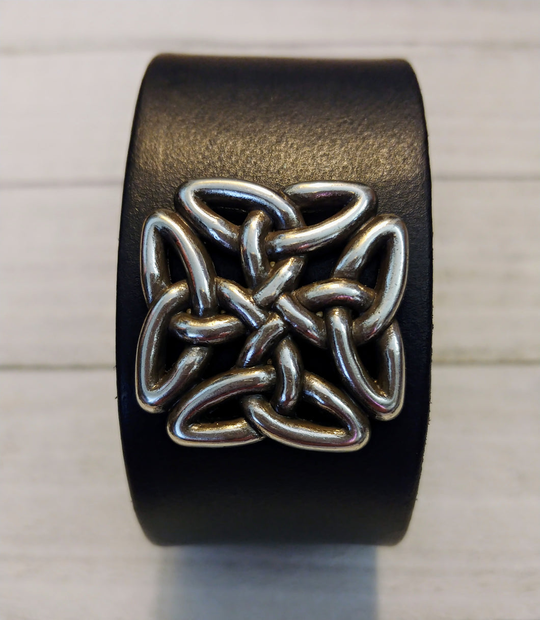 Black Leather Cuff with Celtic Square Knot