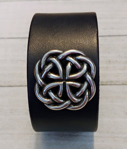 Black Leather Cuff with Celtic Circle Knot