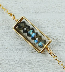 Gold Filled Rectangle Necklace with Labradorite