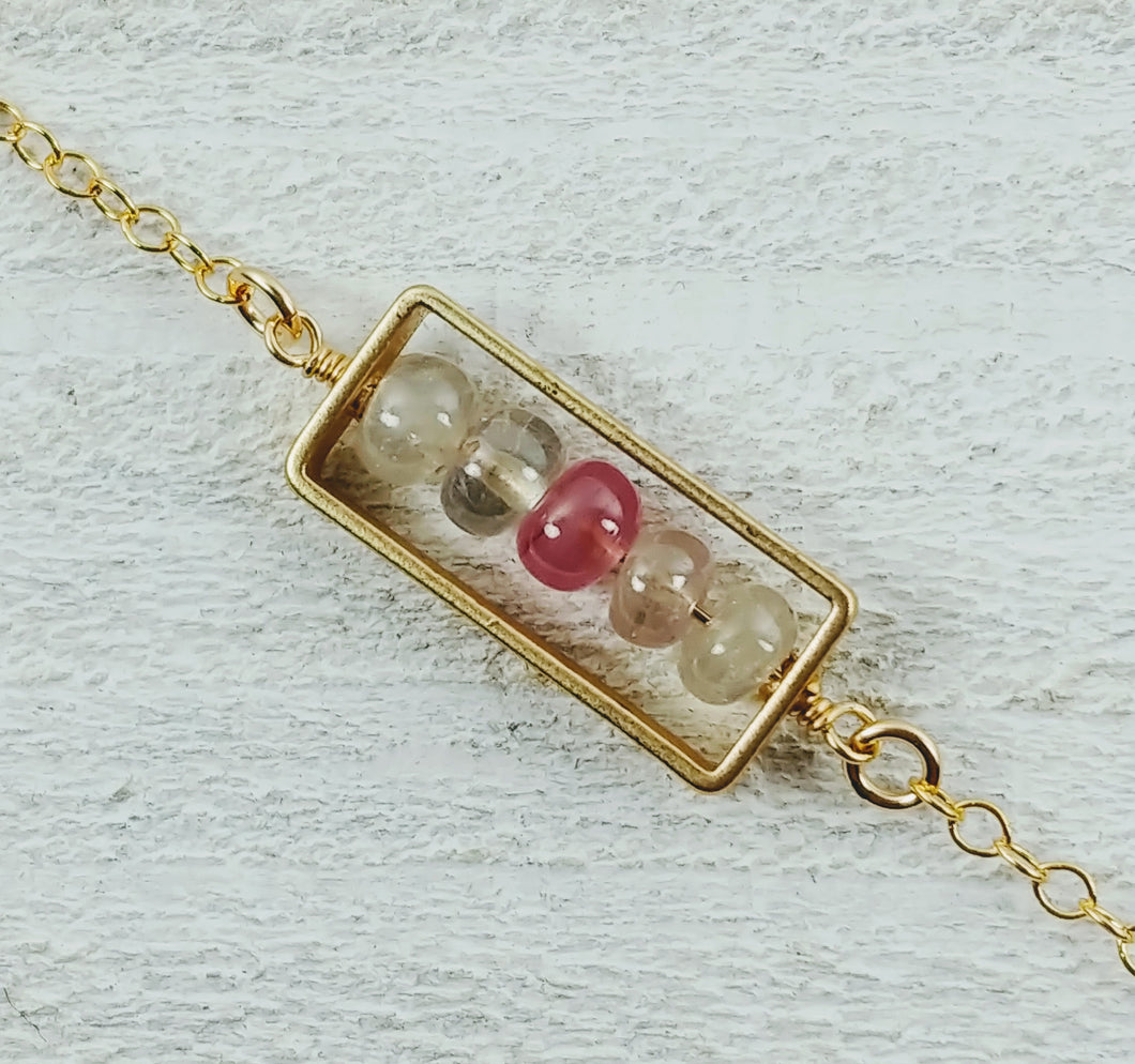 Gold Filled Rectangle Necklace with Spinel