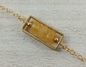 Gold Filled Rectangle Necklace with Honey Jade