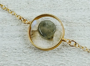 Gold Filled Large Circle Necklace with Labradorite and Moonstone