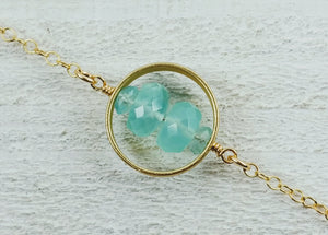 Gold Filled Large Circle Necklace with Aquamarine and Blue Apatite
