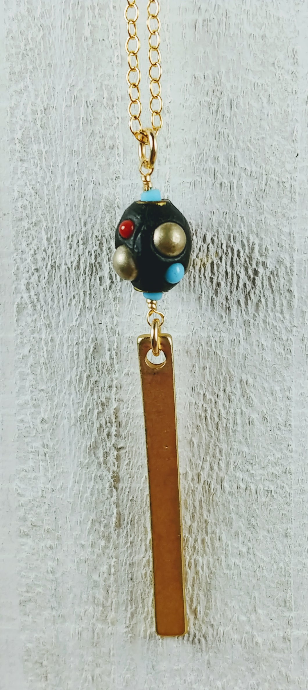 Gold Filled Bar Necklace with Czech Glass