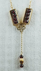 Gold Filled Clover Necklace with Garnet