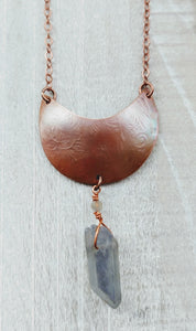 Copper Moon Necklace with Electroplated Quartz