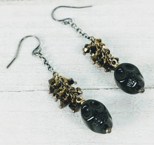 Sterling Silver Earrings with Black Onyx Skull