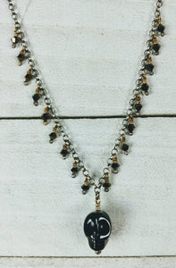 Sterling Silver Necklace with Black Onyx Skull