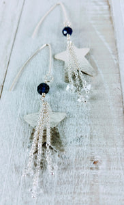 Hammered Sterling Silver Earrings with Iolite