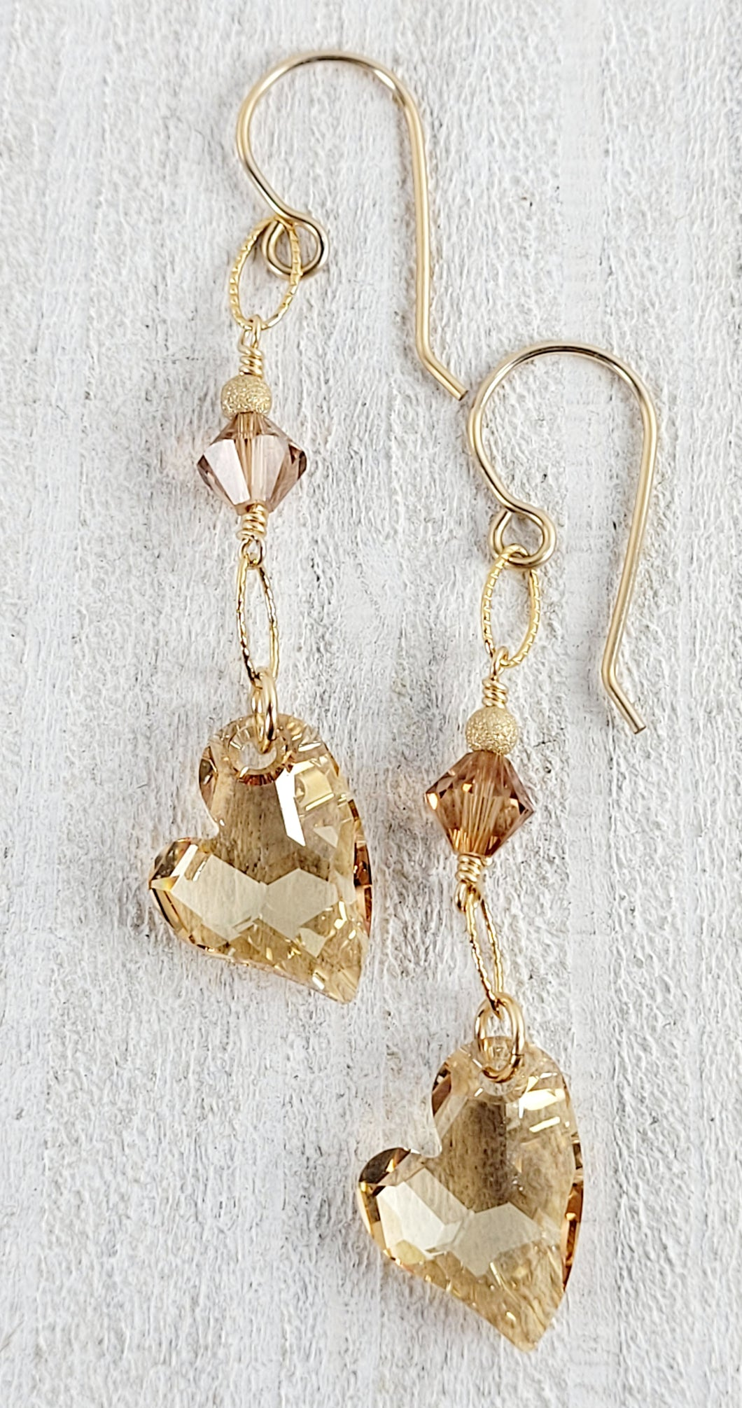 Golden Shadow Swarovski Heart Earrings