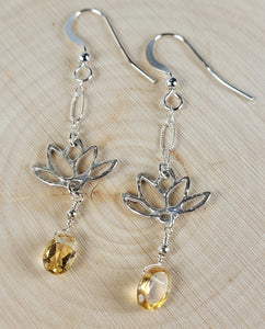 Sterling Silver Lotus Flower Earrings with Citrine