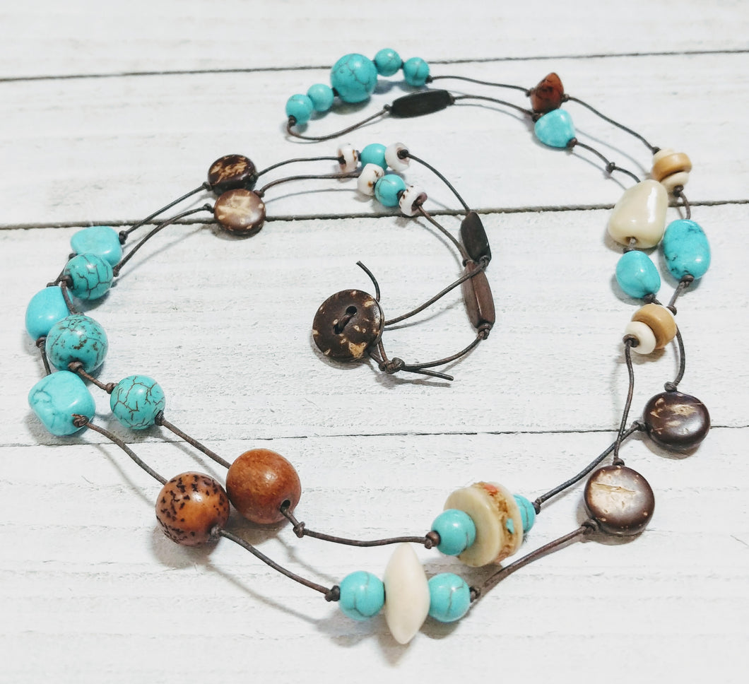 Leather Necklace with Turquoise, Wood, and Shell