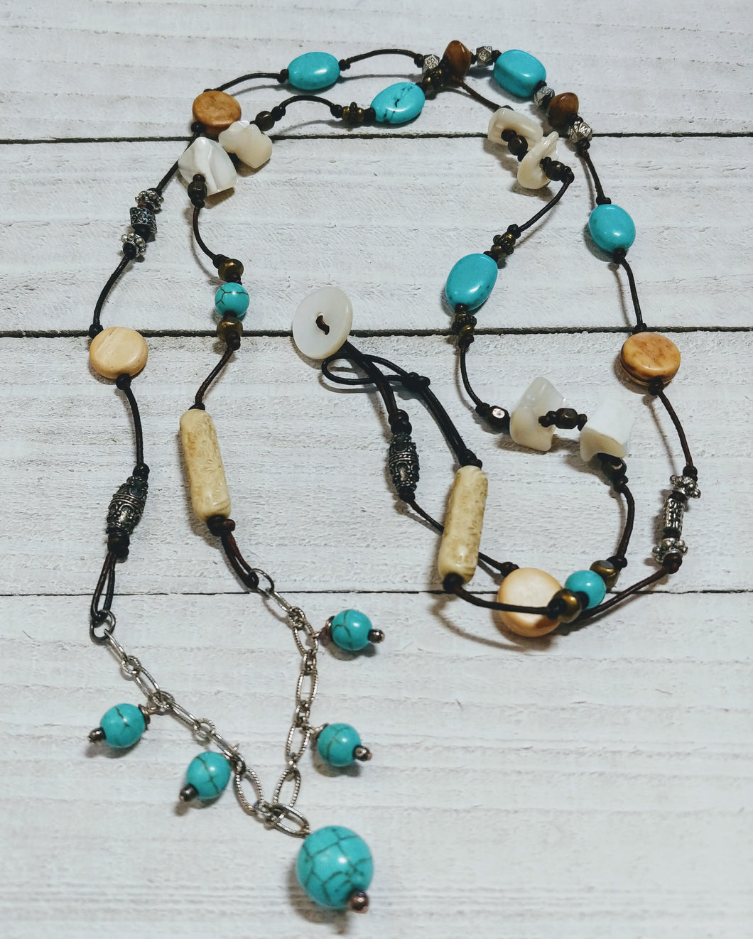 Leather Necklace with Turquoise, Wood, and Mother of Pearl