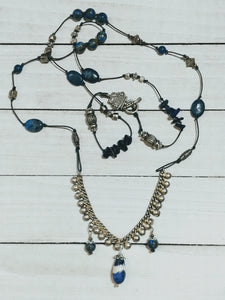 Leather Necklace with Lapis Lazuli and Sodalite