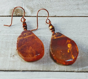 Electroplated Quartz Copper Earrings