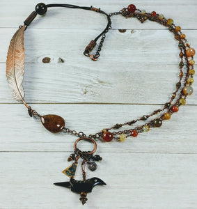 Copper Feather Necklace with Agate and Carnelian
