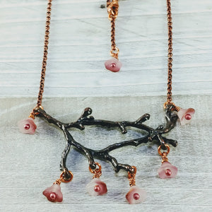 Copper Branch Necklace with Pink Bell Flowers