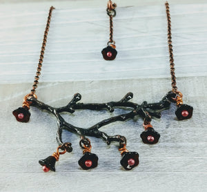 Copper Branch Necklace with Crimson Bell Flowers
