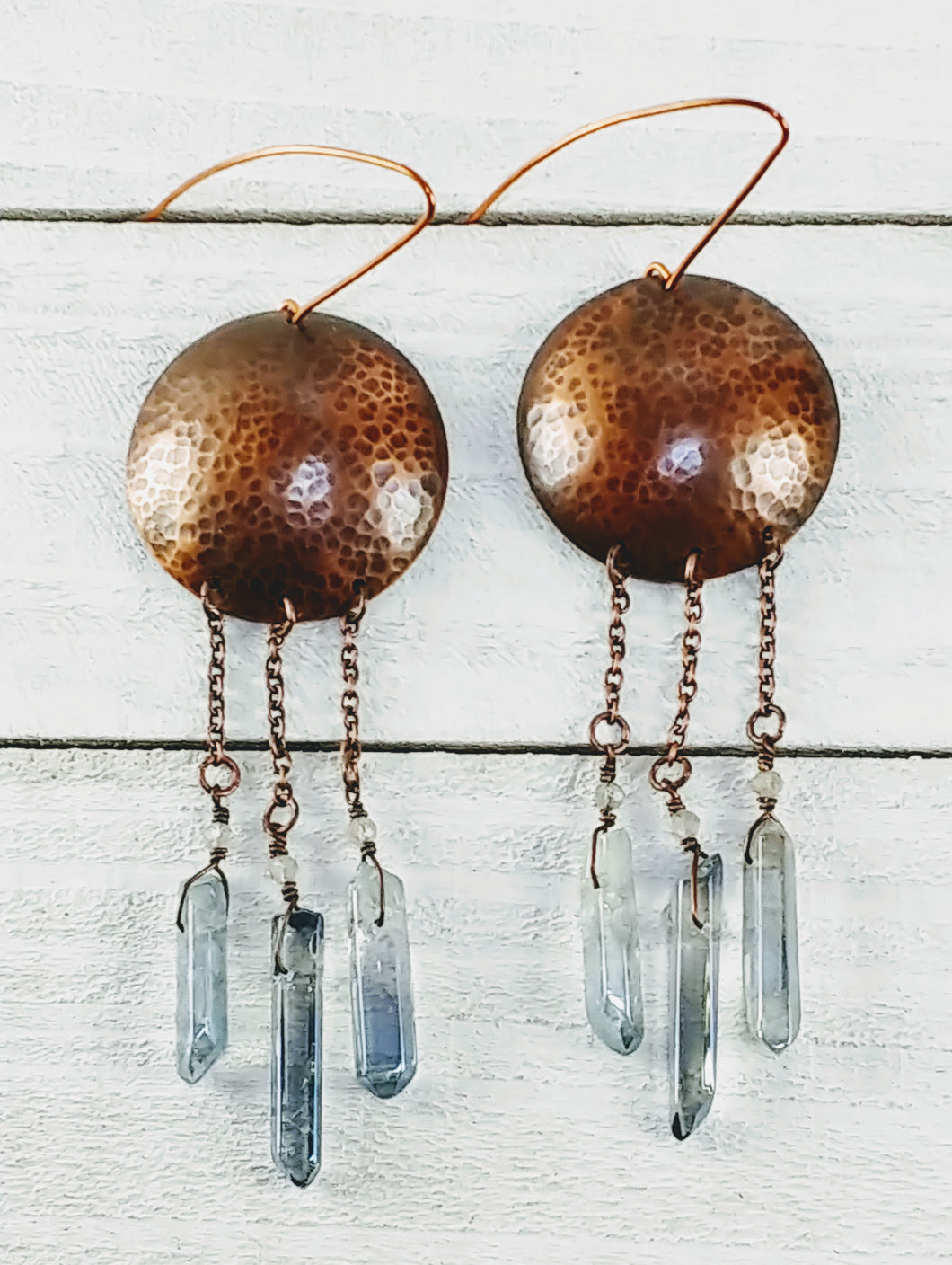 Copper Disc Earrings with Quartz and Labradorite