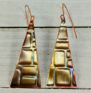 Copper Triangle Earrings with Rectangles