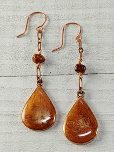 Copper Resin Earrings with Amber
