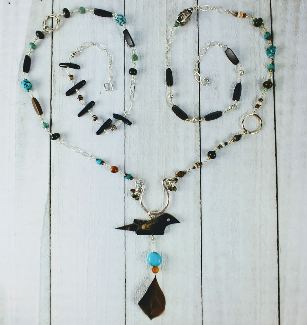 Sterling Silver Bird Necklace with Horn and Turquoise